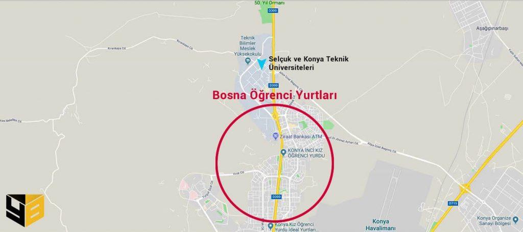 Konya öğrenci yurtları arasında bulunan yurtların birçoğu Bosna Mahallesinde hizmet vermektedir. Bosna Öğrenci Yurtları Selçuk Üniversitesi ve Konya Teknik Üniversitesine olan yakınlığıyla bilinirler.