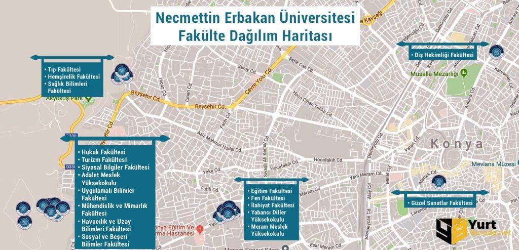 Necmettin Erbakan Üniversitesi Fakülte Dağılım Haritası